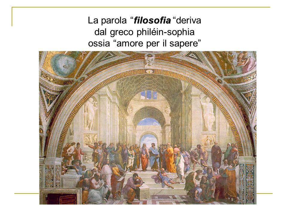 """filosofia La parola """"filosofia """"deriva dal greco philéin-sophia ossia """"amore per il sapere"""""""