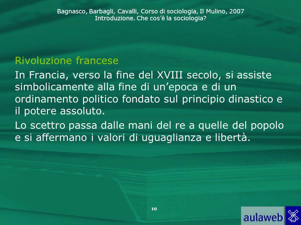 Bagnasco, Barbagli, Cavalli, Corso di sociologia, Il Mulino, 2007 Introduzione. Che cos'è la sociologia? 10 Rivoluzione francese In Francia, verso la