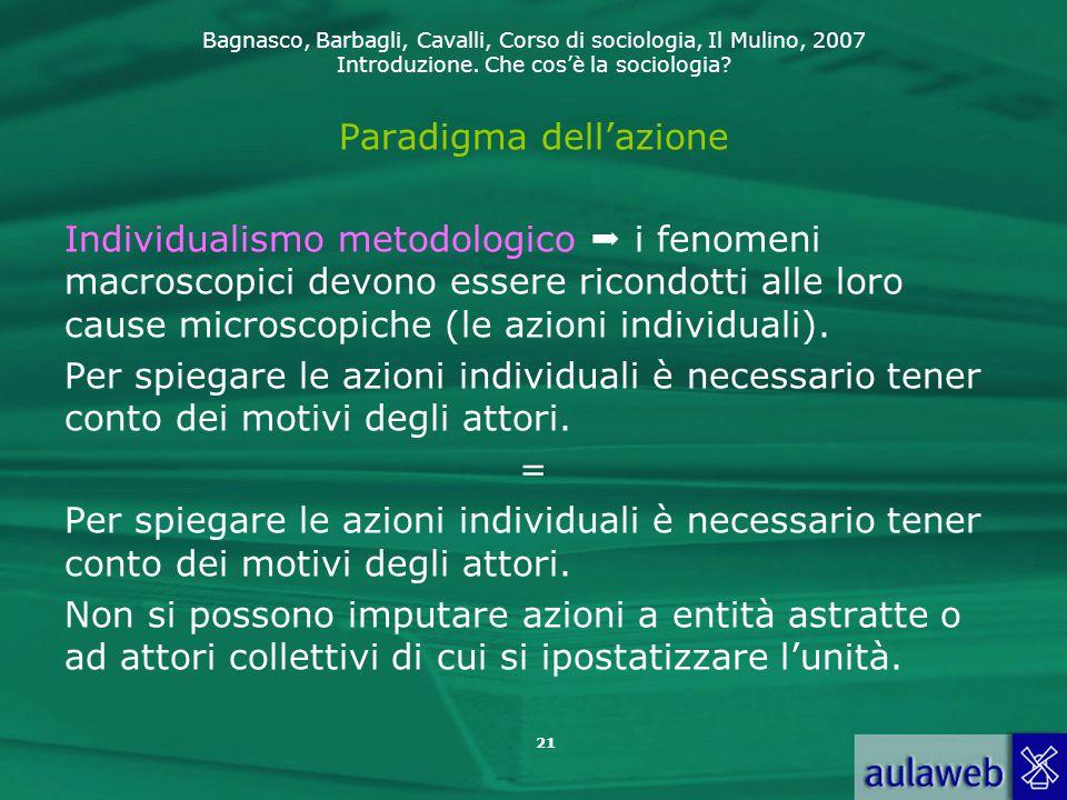 Bagnasco, Barbagli, Cavalli, Corso di sociologia, Il Mulino, 2007 Introduzione. Che cos'è la sociologia? 21 Paradigma dell'azione Individualismo metod