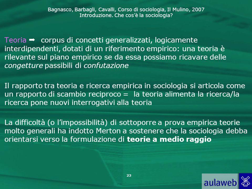 Bagnasco, Barbagli, Cavalli, Corso di sociologia, Il Mulino, 2007 Introduzione. Che cos'è la sociologia? 23 Teoria  corpus di concetti generalizzati,