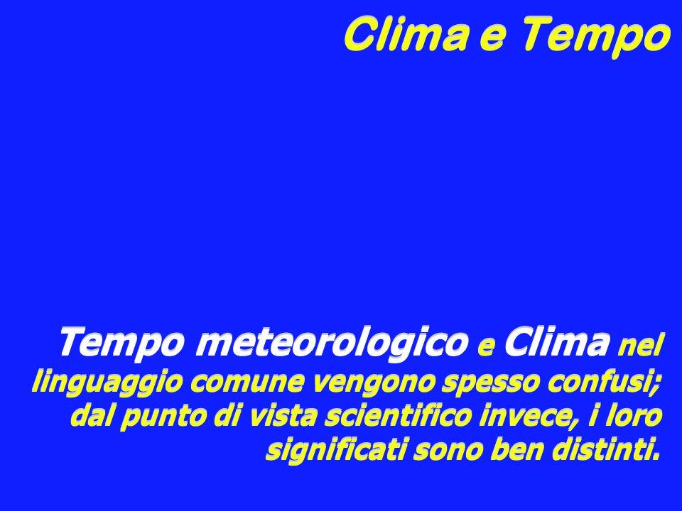 Clima e Tempo Tempo meteorologico e Clima nel linguaggio comune vengono spesso confusi; dal punto di vista scientifico invece, i loro significati sono ben distinti.