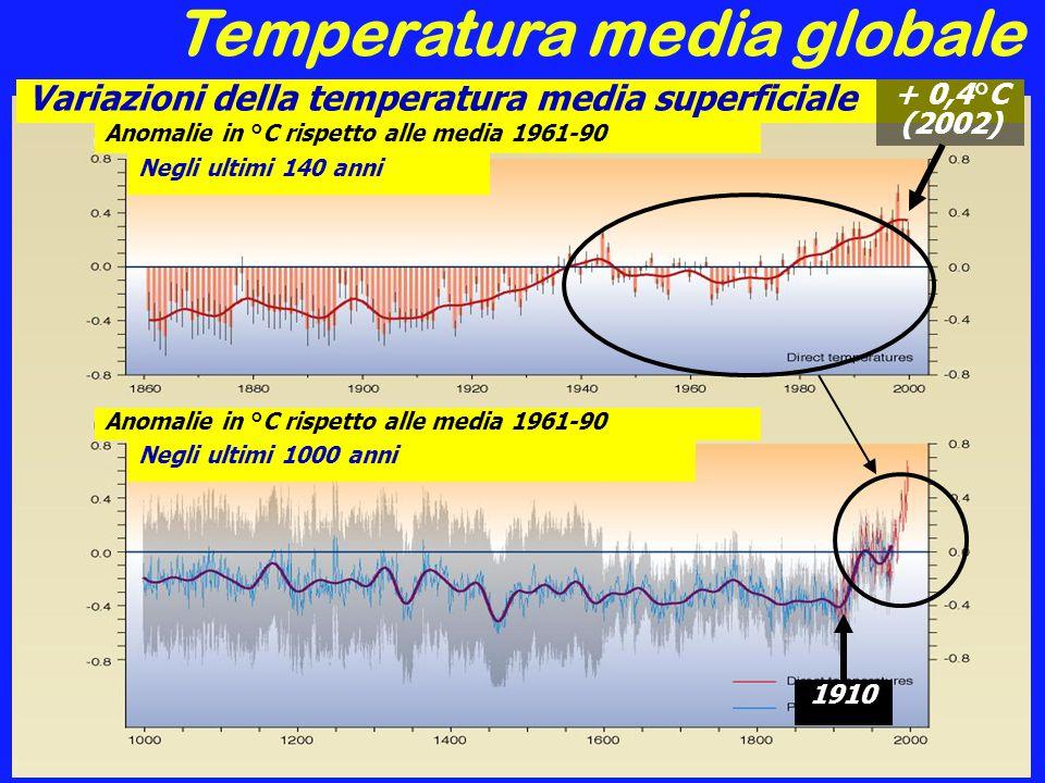 Temperatura media globale Negli ultimi 1000 anni (emisfero nord) Variazioni della temperatura media superficiale Anomalie in °C rispetto alle media 1961-90 Negli ultimi 140 anni Anomalie in °C rispetto alle media 1961-90 Negli ultimi 1000 anni + 0,4°C (2002) 1910