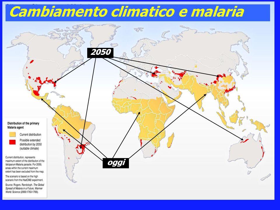 Cambiamento climatico e malaria oggi 2050