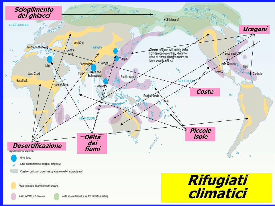 Rifugiati climatici Delta dei fiumi Piccole isole Coste Desertificazione Uragani Scioglimento dei ghiacci