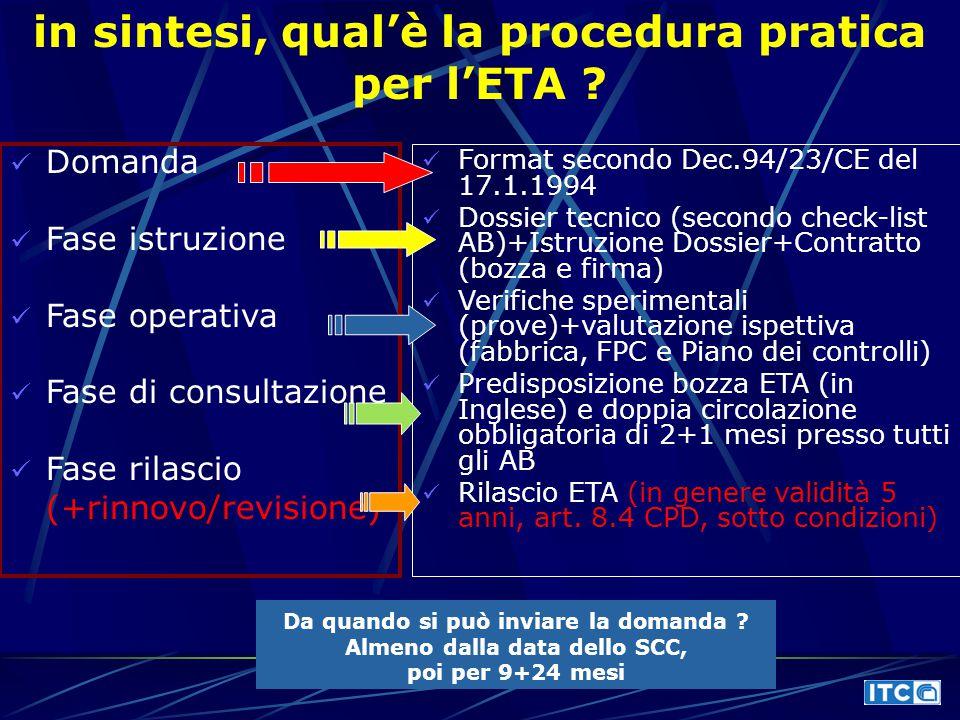 in sintesi, qual'è la procedura pratica per l'ETA ? Domanda Fase istruzione Fase operativa Fase di consultazione Fase rilascio (+rinnovo/revisione) Fo