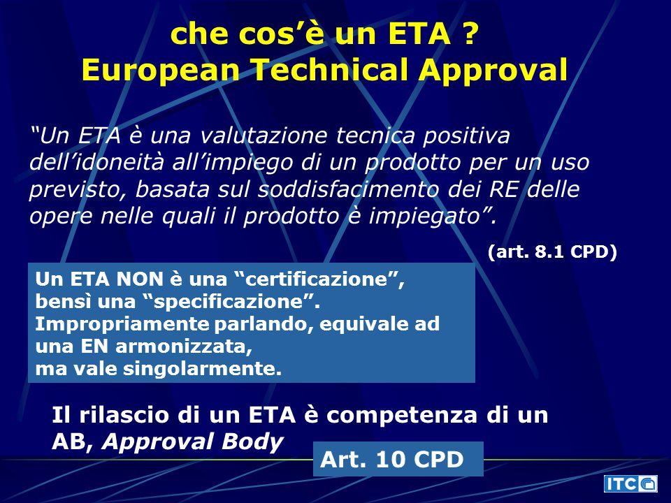 """che cos'è un ETA ? European Technical Approval """"Un ETA è una valutazione tecnica positiva dell'idoneità all'impiego di un prodotto per un uso previsto"""