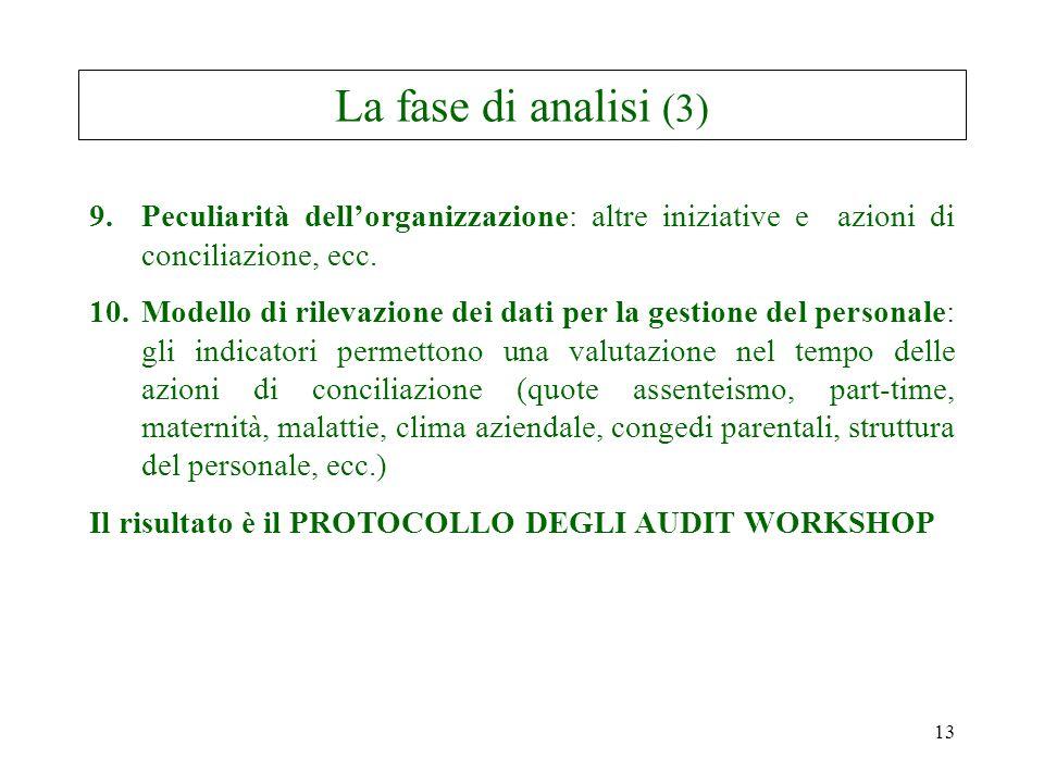 13 La fase di analisi (3) 9.Peculiarità dell'organizzazione: altre iniziative e azioni di conciliazione, ecc.
