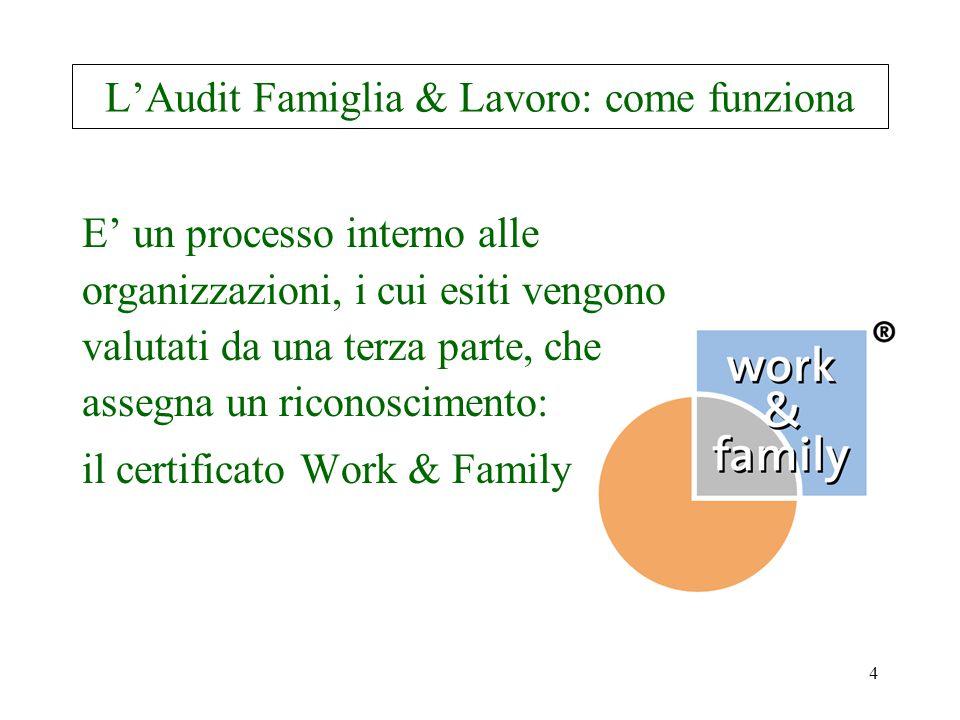 5 Breve cronistoria L'Audit Beruf & Familie ® è stato elaborato in Germania nel 1995, su incarico della Fondazione di pubblica utilità Hertie di Francoforte e sull'esempio del Family Friendly Index americano.