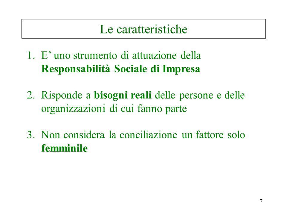 7 Le caratteristiche 1.E' uno strumento di attuazione della Responsabilità Sociale di Impresa 2.Risponde a bisogni reali delle persone e delle organizzazioni di cui fanno parte femminile 3.Non considera la conciliazione un fattore solo femminile