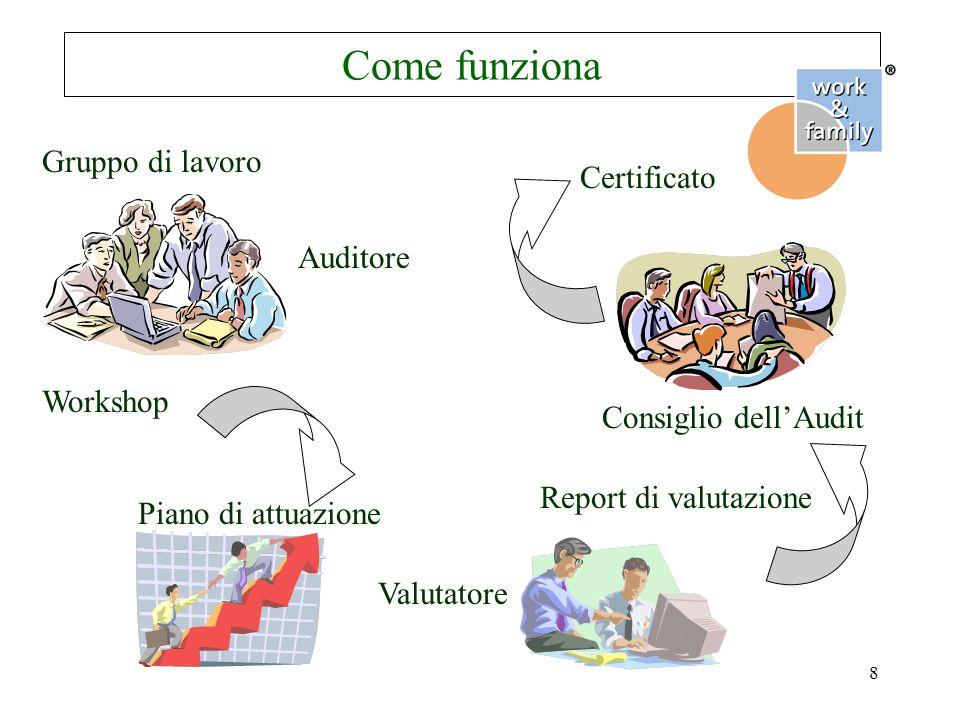 8 Come funziona Gruppo di lavoro Auditore Workshop Piano di attuazione Valutatore Report di valutazione Consiglio dell'Audit Certificato