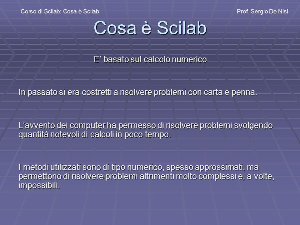 Cosa è Scilab E' basato sul calcolo numerico In passato si era costretti a risolvere problemi con carta e penna.