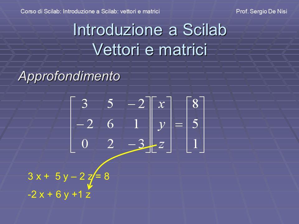 Introduzione a Scilab Vettori e matrici Corso di Scilab: Introduzione a Scilab: vettori e matriciProf.