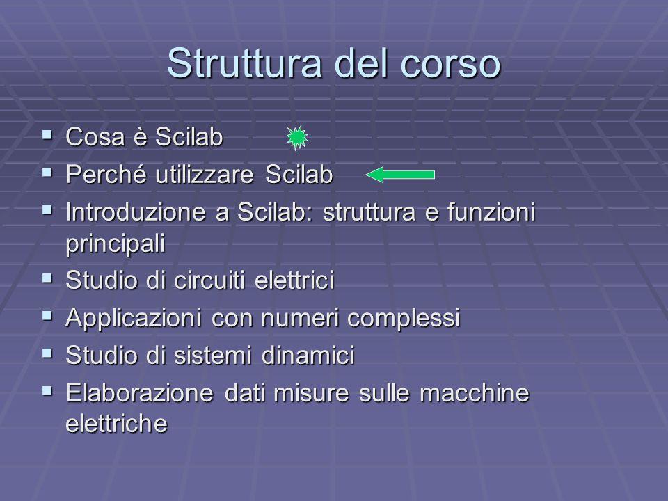Struttura del corso  Cosa è Scilab  Perché utilizzare Scilab  Introduzione a Scilab: struttura e funzioni principali  Studio di circuiti elettrici  Applicazioni con numeri complessi  Studio di sistemi dinamici  Elaborazione dati misure sulle macchine elettriche
