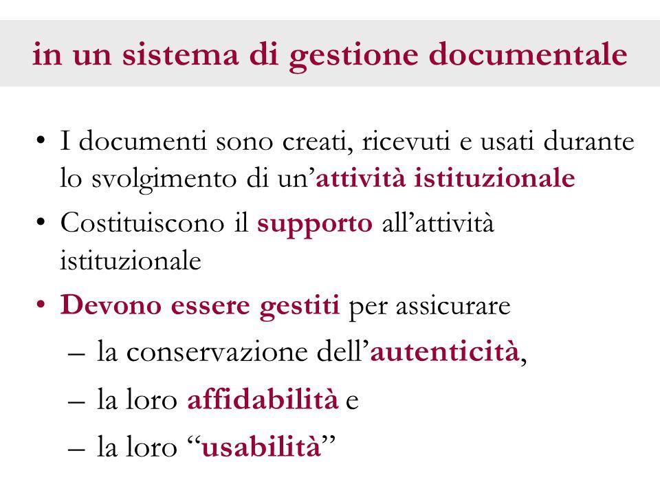 in un sistema di gestione documentale I documenti sono creati, ricevuti e usati durante lo svolgimento di un'attività istituzionale Costituiscono il supporto all'attività istituzionale Devono essere gestiti per assicurare – la conservazione dell'autenticità, – la loro affidabilità e – la loro usabilità