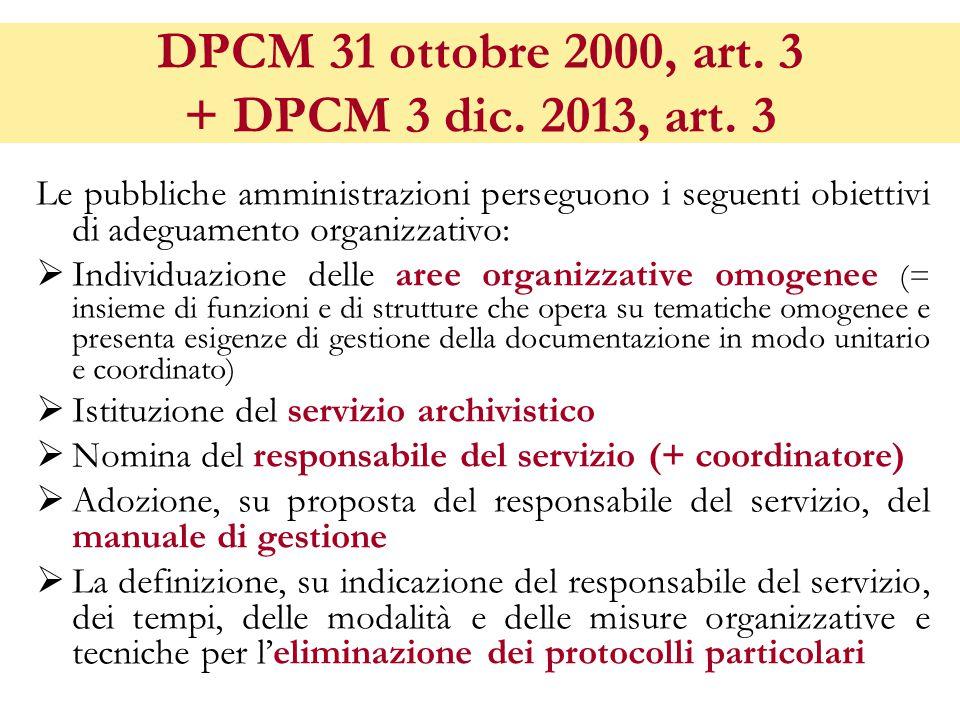 DPCM 31 ottobre 2000, art.3 + DPCM 3 dic. 2013, art.