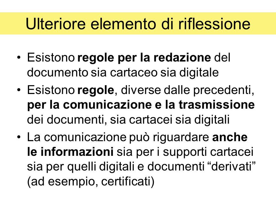 Ulteriore elemento di riflessione Esistono regole per la redazione del documento sia cartaceo sia digitale Esistono regole, diverse dalle precedenti, per la comunicazione e la trasmissione dei documenti, sia cartacei sia digitali La comunicazione può riguardare anche le informazioni sia per i supporti cartacei sia per quelli digitali e documenti derivati (ad esempio, certificati)