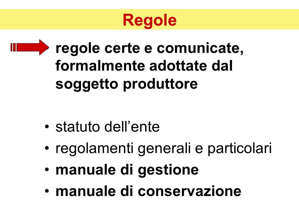 Regole regole certe e comunicate, formalmente adottate dal soggetto produttore statuto dell'ente regolamenti generali e particolari manuale di gestione manuale di conservazione