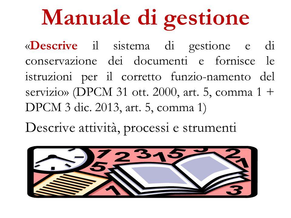 Manuale di gestione «Descrive il sistema di gestione e di conservazione dei documenti e fornisce le istruzioni per il corretto funzio-namento del servizio» (DPCM 31 ott.