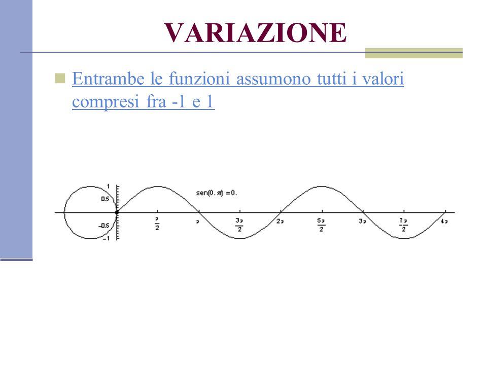 VARIAZIONE Entrambe le funzioni assumono tutti i valori compresi fra -1 e 1 Entrambe le funzioni assumono tutti i valori compresi fra -1 e 1