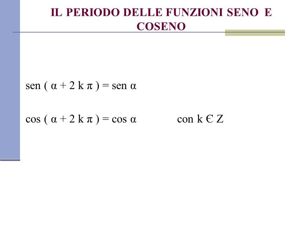 IL PERIODO DELLE FUNZIONI SENO E COSENO sen ( α + 2 k π ) = sen α cos ( α + 2 k π ) = cos α con k Є Z