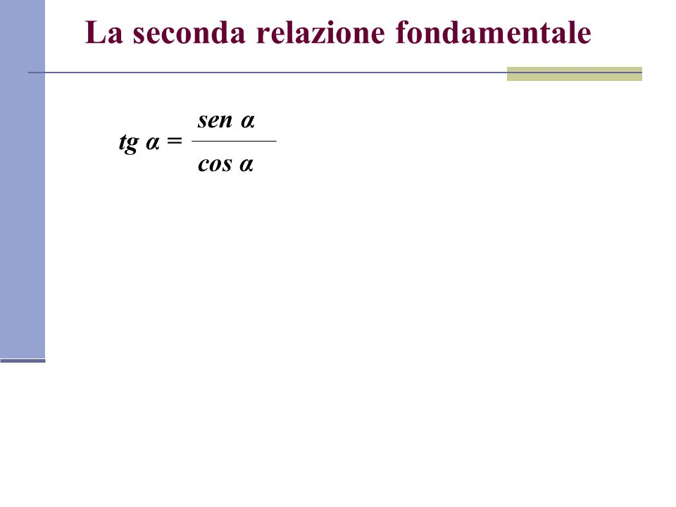 La seconda relazione fondamentale sen α tg α = cos α