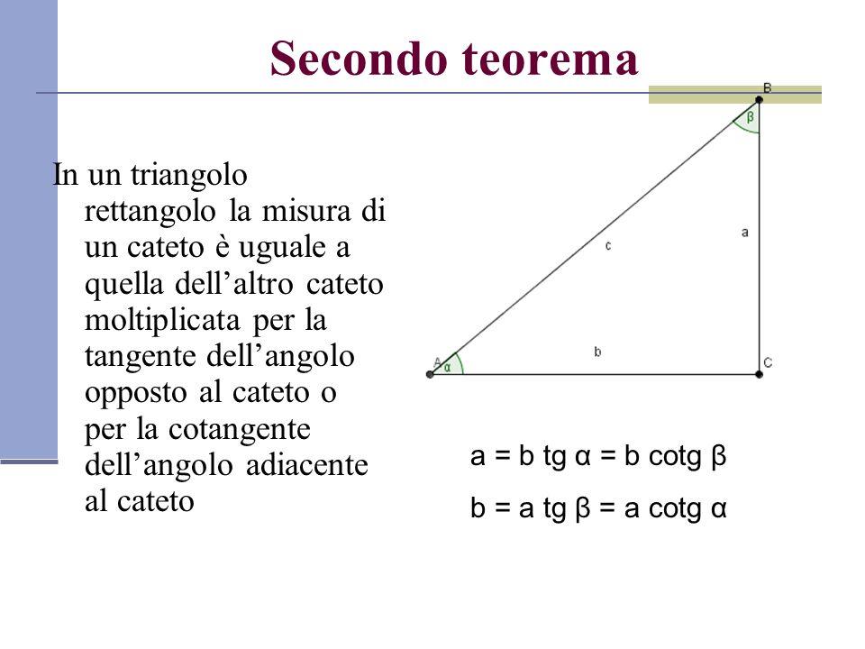 Secondo teorema In un triangolo rettangolo la misura di un cateto è uguale a quella dell'altro cateto moltiplicata per la tangente dell'angolo opposto