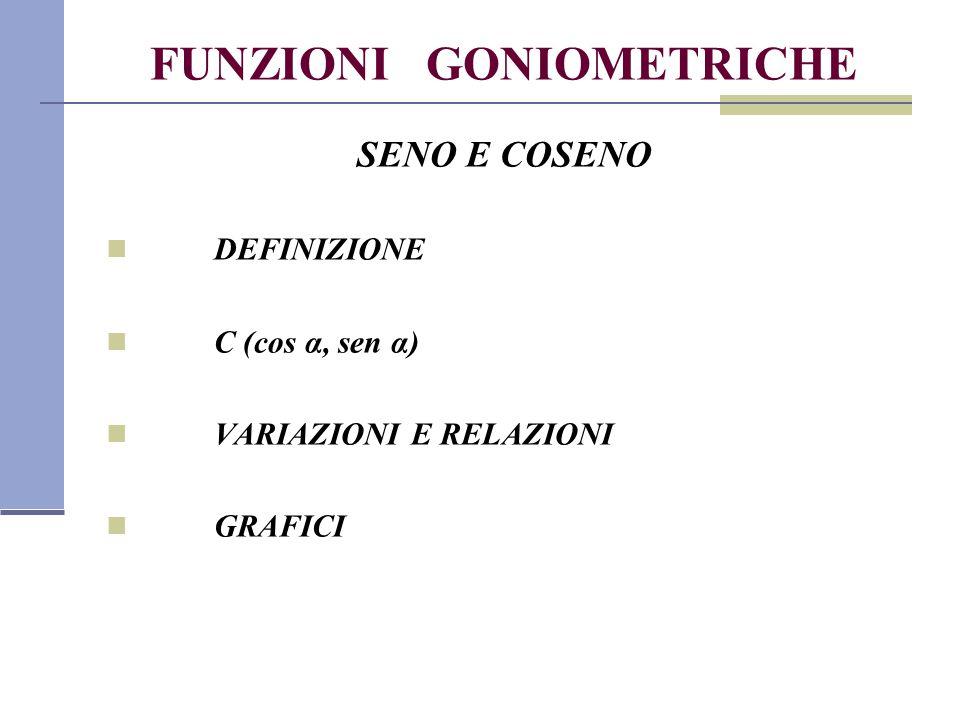 FUNZIONI GONIOMETRICHE SENO E COSENO DEFINIZIONE C (cos α, sen α) VARIAZIONI E RELAZIONI GRAFICI