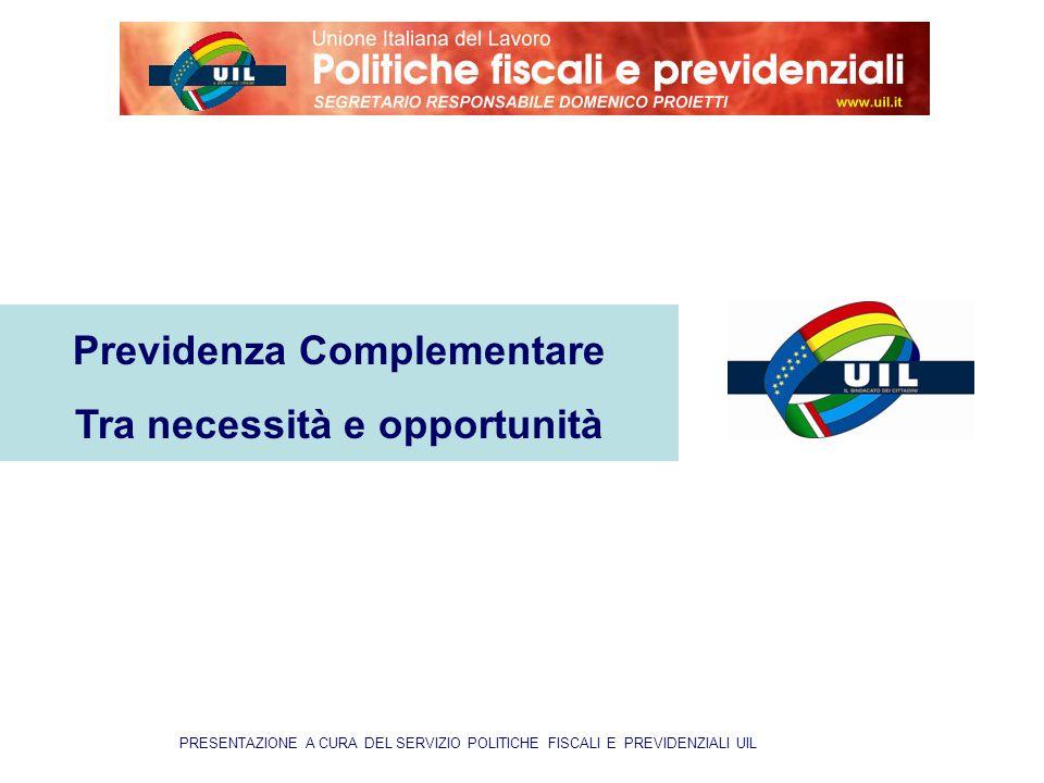 PRESENTAZIONE A CURA DEL SERVIZIO POLITICHE FISCALI E PREVIDENZIALI UIL Previdenza Complementare Tra necessità e opportunità