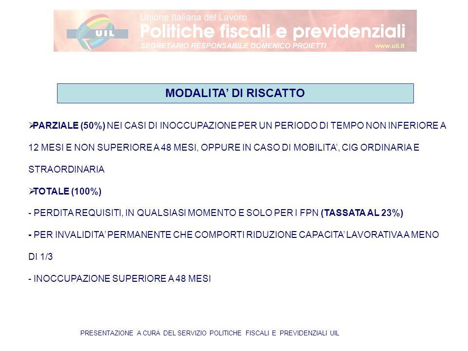 PRESENTAZIONE A CURA DEL SERVIZIO POLITICHE FISCALI E PREVIDENZIALI UIL  PARZIALE (50%) NEI CASI DI INOCCUPAZIONE PER UN PERIODO DI TEMPO NON INFERIORE A 12 MESI E NON SUPERIORE A 48 MESI, OPPURE IN CASO DI MOBILITA', CIG ORDINARIA E STRAORDINARIA  TOTALE (100%) - PERDITA REQUISITI, IN QUALSIASI MOMENTO E SOLO PER I FPN (TASSATA AL 23%) - PER INVALIDITA' PERMANENTE CHE COMPORTI RIDUZIONE CAPACITA' LAVORATIVA A MENO DI 1/3 - INOCCUPAZIONE SUPERIORE A 48 MESI MODALITA' DI RISCATTO