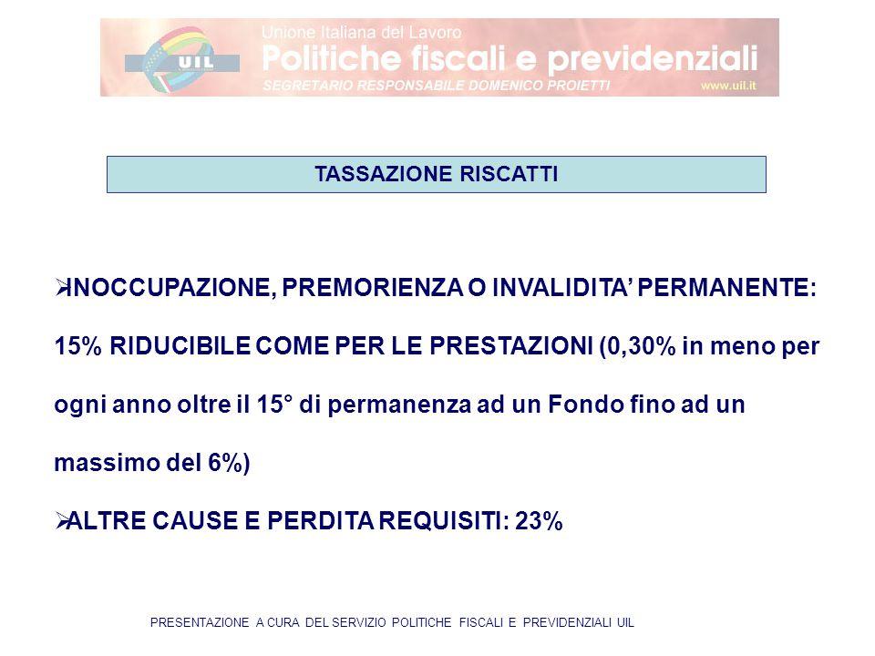 PRESENTAZIONE A CURA DEL SERVIZIO POLITICHE FISCALI E PREVIDENZIALI UIL  INOCCUPAZIONE, PREMORIENZA O INVALIDITA' PERMANENTE: 15% RIDUCIBILE COME PER LE PRESTAZIONI (0,30% in meno per ogni anno oltre il 15° di permanenza ad un Fondo fino ad un massimo del 6%)  ALTRE CAUSE E PERDITA REQUISITI: 23% TASSAZIONE RISCATTI