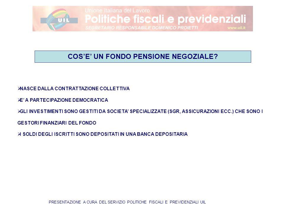 PRESENTAZIONE A CURA DEL SERVIZIO POLITICHE FISCALI E PREVIDENZIALI UIL  NASCE DALLA CONTRATTAZIONE COLLETTIVA  E' A PARTECIPAZIONE DEMOCRATICA  GLI INVESTIMENTI SONO GESTITI DA SOCIETA' SPECIALIZZATE (SGR, ASSICURAZIONI ECC.) CHE SONO I GESTORI FINANZIARI DEL FONDO  I SOLDI DEGLI ISCRITTI SONO DEPOSITATI IN UNA BANCA DEPOSITARIA COS'E' UN FONDO PENSIONE NEGOZIALE