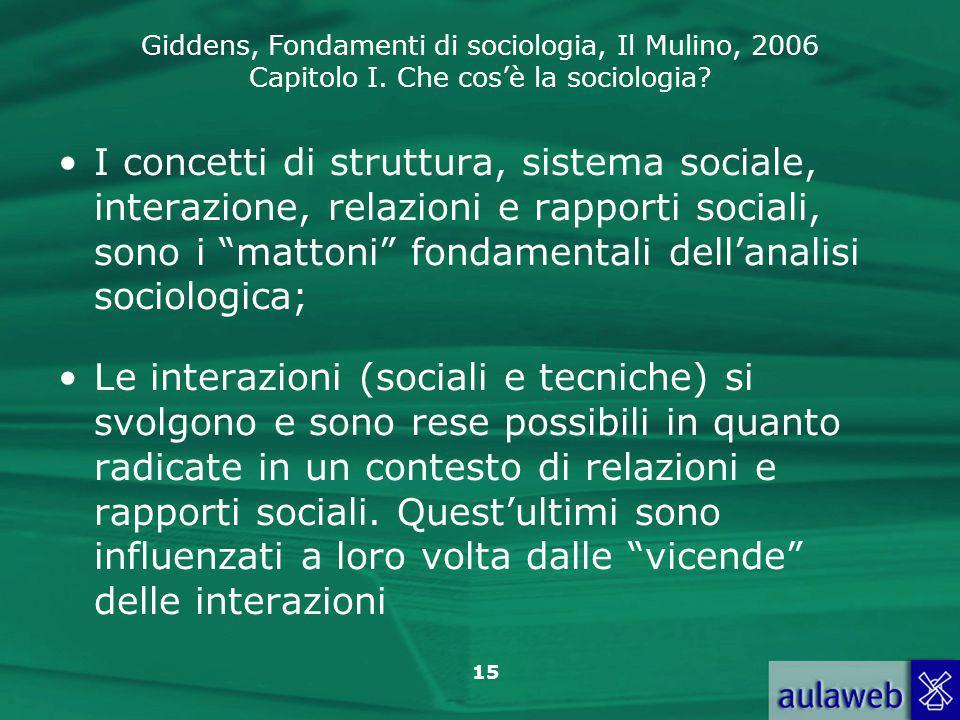 Giddens, Fondamenti di sociologia, Il Mulino, 2006 Capitolo I. Che cos'è la sociologia? 15 I concetti di struttura, sistema sociale, interazione, rela