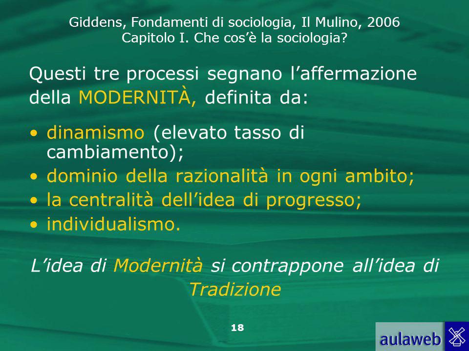Giddens, Fondamenti di sociologia, Il Mulino, 2006 Capitolo I. Che cos'è la sociologia? 18 Questi tre processi segnano l'affermazione della MODERNITÀ,