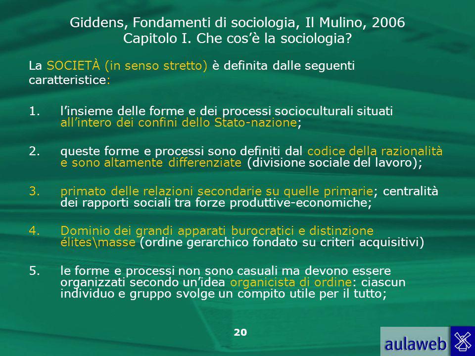Giddens, Fondamenti di sociologia, Il Mulino, 2006 Capitolo I. Che cos'è la sociologia? 20 La SOCIETÀ (in senso stretto) è definita dalle seguenti car
