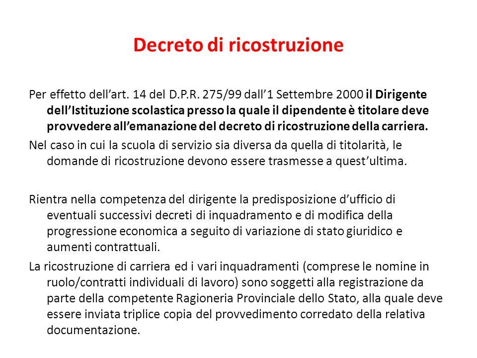 Decreto di ricostruzione Per effetto dell'art. 14 del D.P.R. 275/99 dall'1 Settembre 2000 il Dirigente dell'Istituzione scolastica presso la quale il