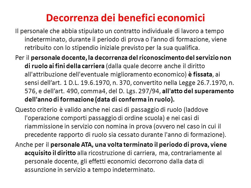 Decorrenza dei benefici economici Il personale che abbia stipulato un contratto individuale di lavoro a tempo indeterminato, durante il periodo di pro