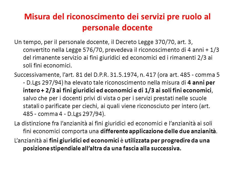 Misura del riconoscimento dei servizi pre ruolo al personale docente Un tempo, per il personale docente, il Decreto Legge 370/70, art. 3, convertito n