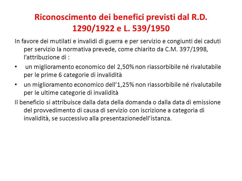 Riconoscimento dei benefici previsti dal R.D. 1290/1922 e L. 539/1950 In favore dei mutilati e invalidi di guerra e per servizio e congiunti dei cadut