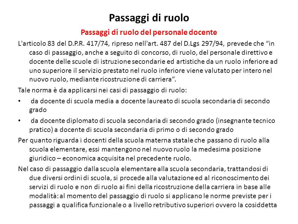 """Passaggi di ruolo Passaggi di ruolo del personale docente L'articolo 83 del D.P.R. 417/74, ripreso nell'art. 487 del D.Lgs 297/94, prevede che """"in cas"""