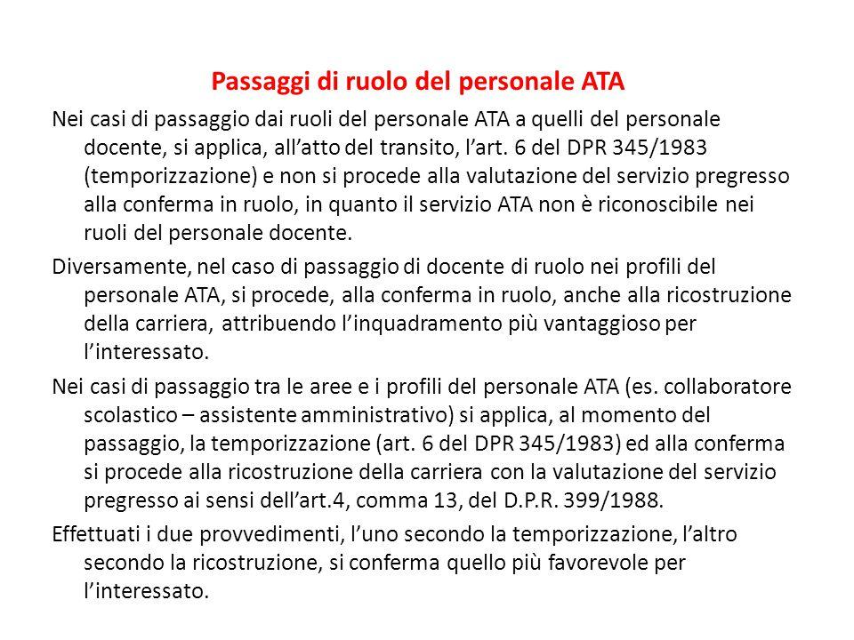 Passaggi di ruolo del personale ATA Nei casi di passaggio dai ruoli del personale ATA a quelli del personale docente, si applica, all'atto del transit