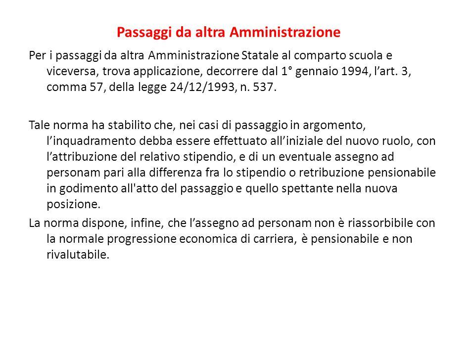 Passaggi da altra Amministrazione Per i passaggi da altra Amministrazione Statale al comparto scuola e viceversa, trova applicazione, decorrere dal 1°