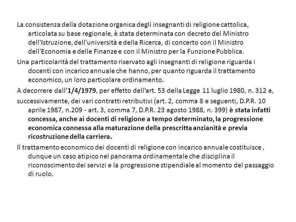 La consistenza della dotazione organica degli insegnanti di religione cattolica, articolata su base regionale, è stata determinata con decreto del Min
