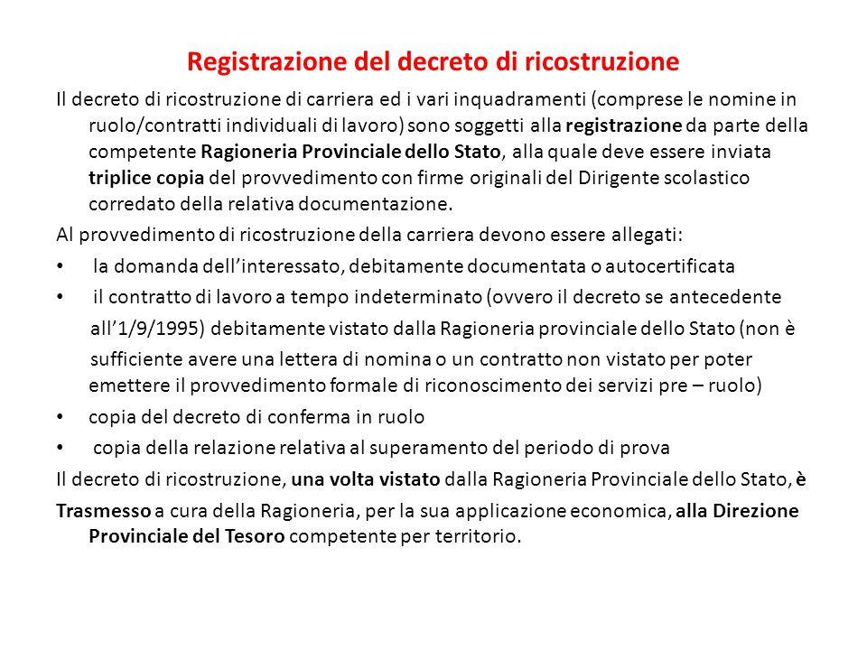 Registrazione del decreto di ricostruzione Il decreto di ricostruzione di carriera ed i vari inquadramenti (comprese le nomine in ruolo/contratti indi