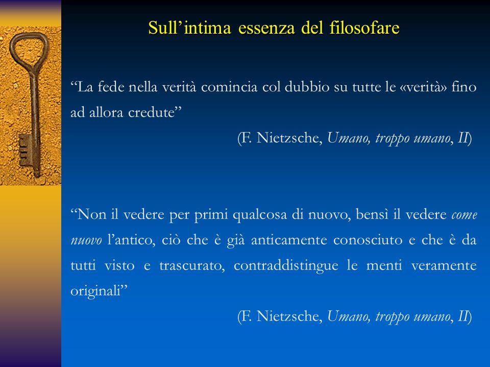 Sull'intima essenza del filosofare La fede nella verità comincia col dubbio su tutte le «verità» fino ad allora credute (F.