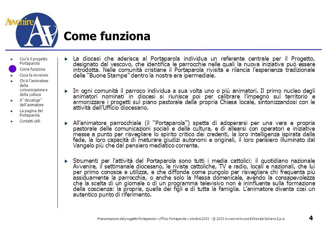4 Presentazione del progetto Portaparola – Ufficio Portaparola – ottobre 2003 - © 2003 Avvenire Nuova Editoriale Italiana S.p.A. Cos'è il progetto Por