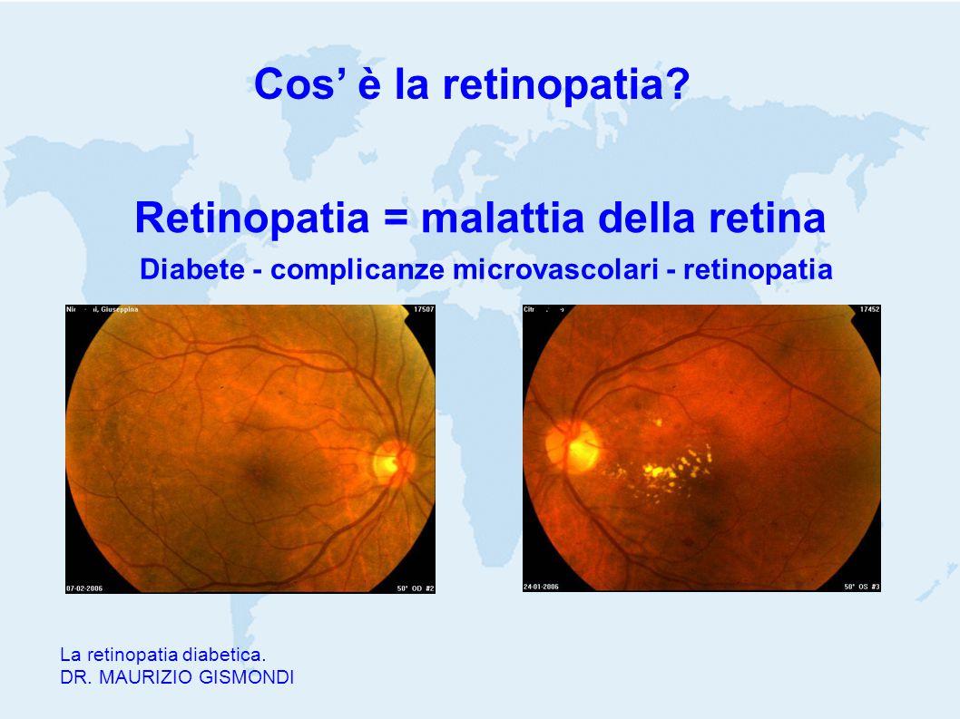 Cos' è la retinopatia? La retinopatia diabetica. DR. MAURIZIO GISMONDI Retinopatia = malattia della retina Diabete - complicanze microvascolari - reti