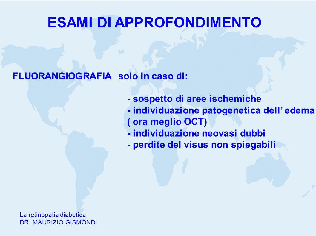 La retinopatia diabetica. DR. MAURIZIO GISMONDI FLUORANGIOGRAFIA solo in caso di: - sospetto di aree ischemiche - individuazione patogenetica dell' ed