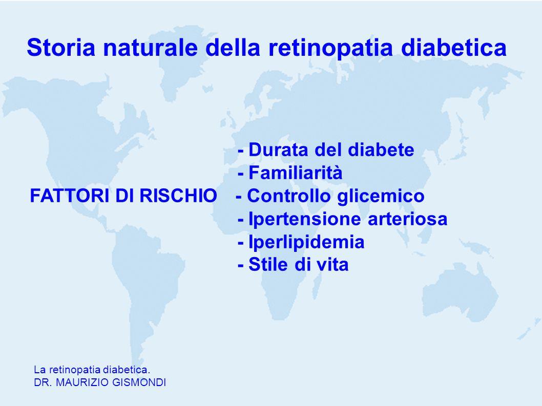 Storia naturale della retinopatia diabetica La retinopatia diabetica. DR. MAURIZIO GISMONDI - Durata del diabete - Familiarità FATTORI DI RISCHIO - Co