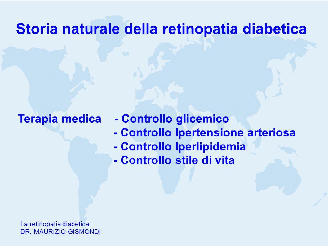 Storia naturale della retinopatia diabetica La retinopatia diabetica. DR. MAURIZIO GISMONDI Terapia medica - Controllo glicemico - Controllo Ipertensi