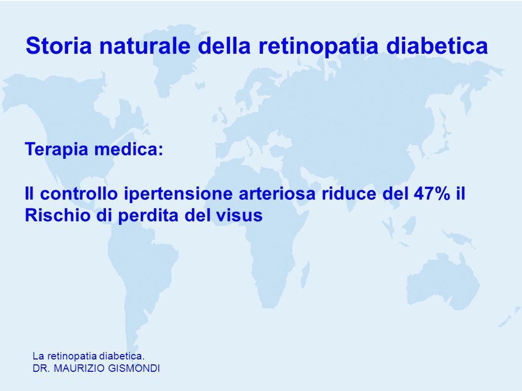 Storia naturale della retinopatia diabetica La retinopatia diabetica. DR. MAURIZIO GISMONDI Terapia medica: Il controllo ipertensione arteriosa riduce